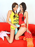 Inexperienced and beautiful teen seduced by her slutty rngirlfriend